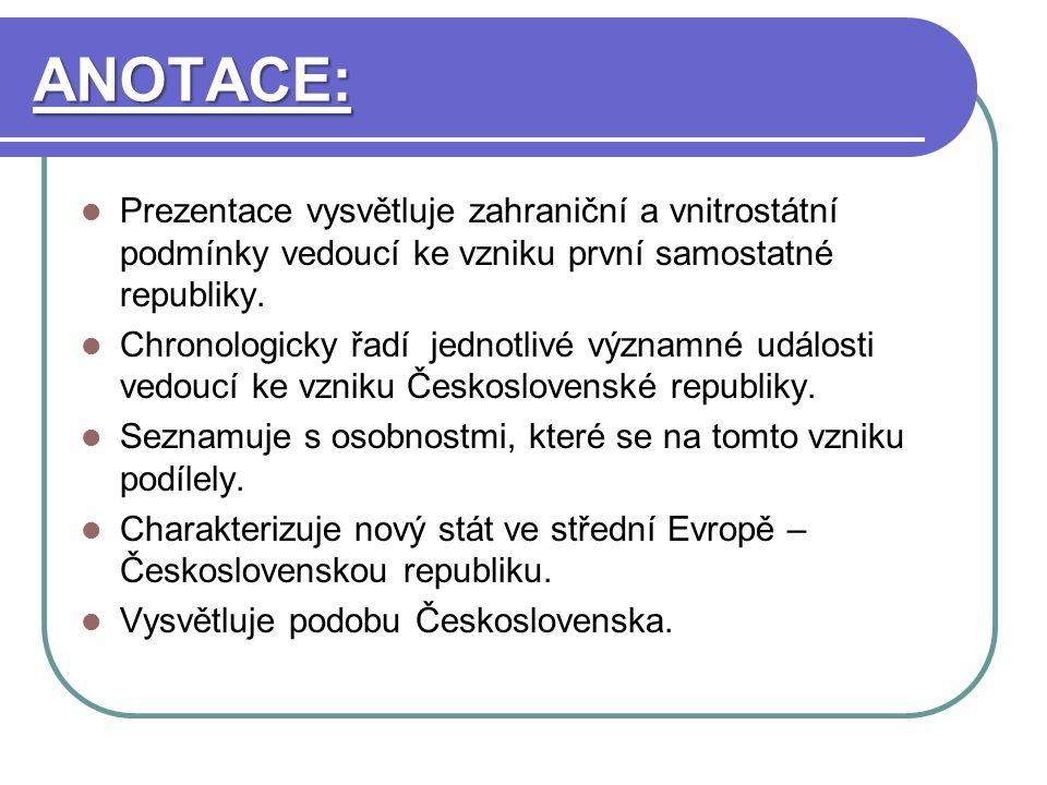 ANOTACE: Prezentace vysvětluje zahraniční a vnitrostátní podmínky vedoucí ke vzniku první samostatné republiky.