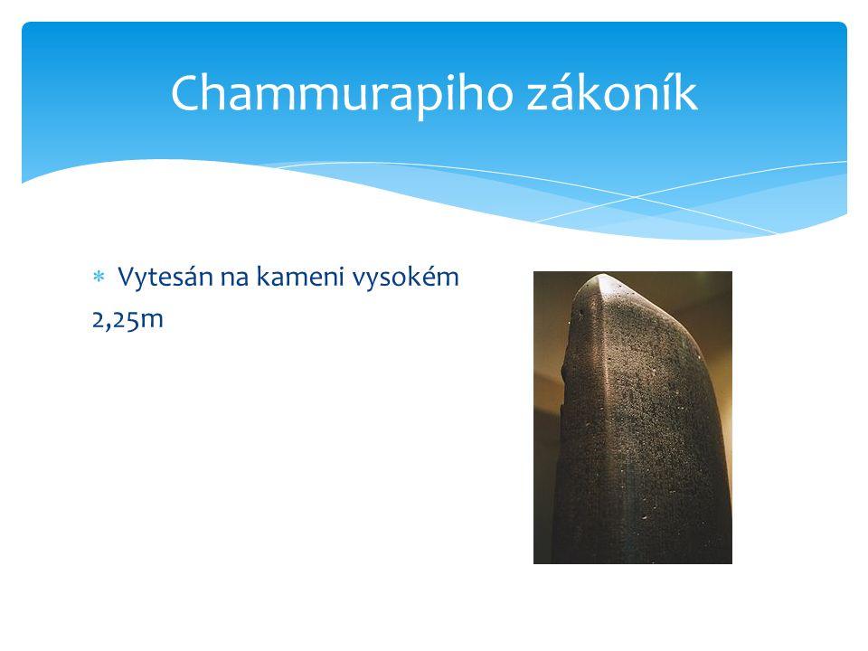  Vytesán na kameni vysokém 2,25m Chammurapiho zákoník