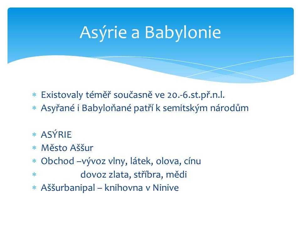  Existovaly téměř současně ve 20.-6.st.př.n.l.  Asyřané i Babyloňané patří k semitským národům  ASÝRIE  Město Aššur  Obchod –vývoz vlny, látek, o