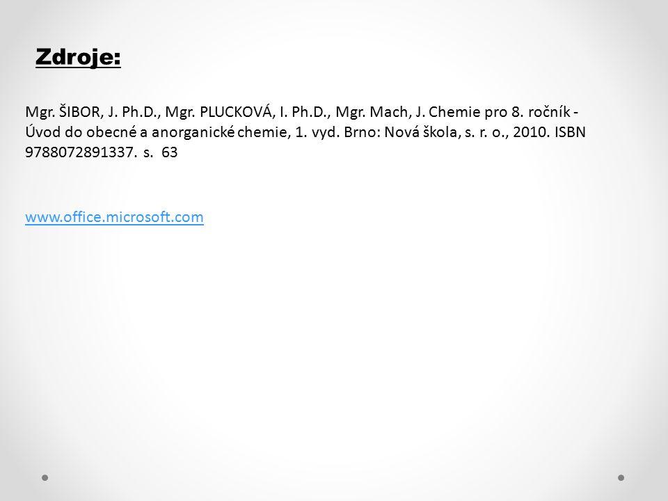 Zdroje: www.office.microsoft.com Mgr. ŠIBOR, J. Ph.D., Mgr. PLUCKOVÁ, I. Ph.D., Mgr. Mach, J. Chemie pro 8. ročník - Úvod do obecné a anorganické chem
