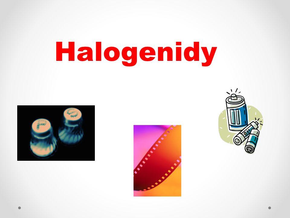 - jsou 2 – prvkové sloučeniny halogenu (F, Cl, Br, I) a dalšího prvku Tvorba názvů a vzorců Oxidační číslo halogenů v halogenidech je –I.