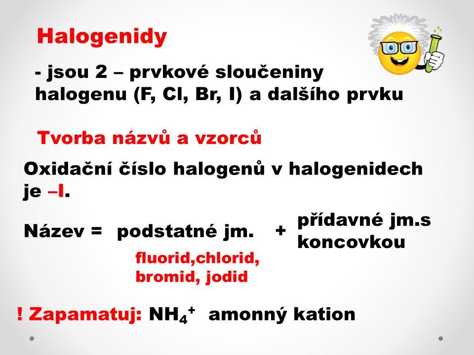 Tvorba názvu halogenidu ze vzorce: Př.