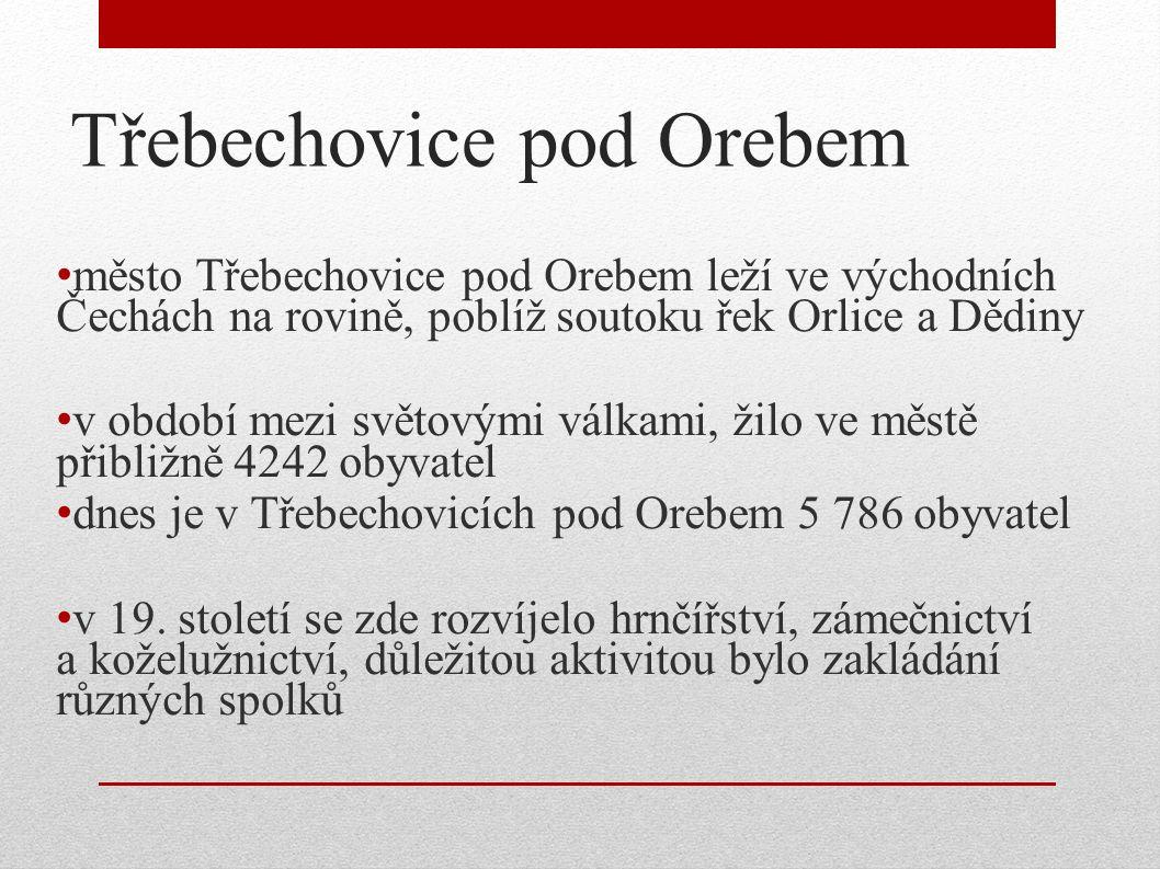 Třebechovice pod Orebem město Třebechovice pod Orebem leží ve východních Čechách na rovině, poblíž soutoku řek Orlice a Dědiny v období mezi světovými