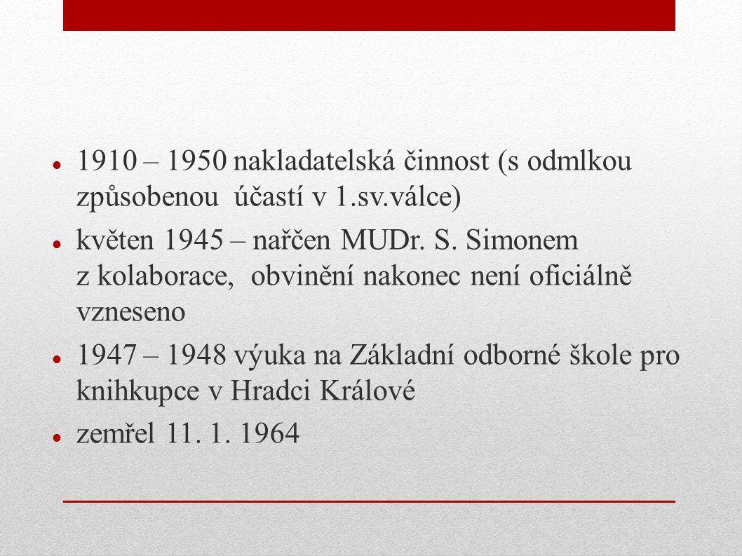 1910 – 1950 nakladatelská činnost (s odmlkou způsobenou účastí v 1.sv.válce) květen 1945 – nařčen MUDr. S. Simonem z kolaborace, obvinění nakonec není