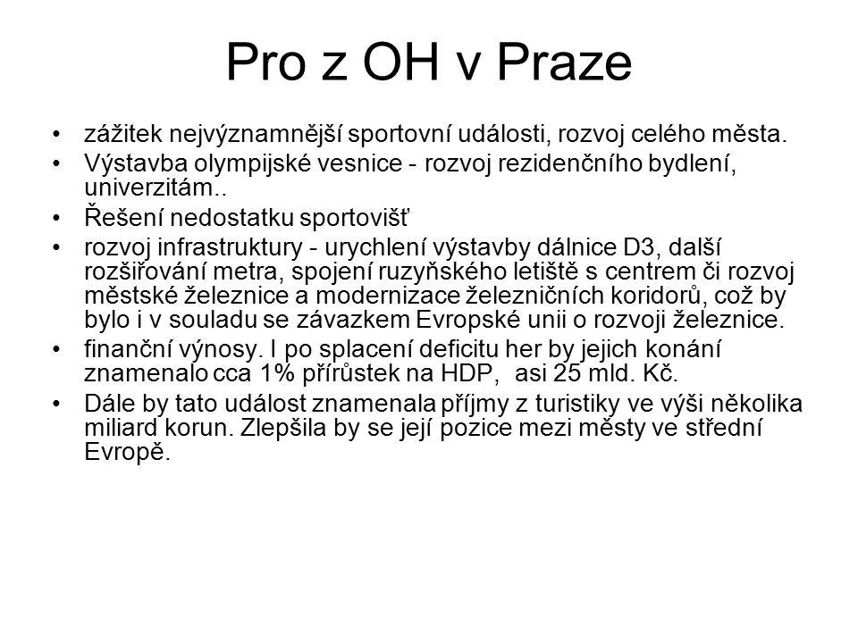 Pro z OH v Praze zážitek nejvýznamnější sportovní události, rozvoj celého města.