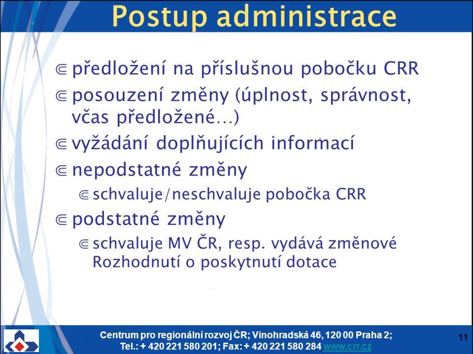 Centrum pro regionální rozvoj ČR; Vinohradská 46, 120 00 Praha 2; Tel.: + 420 221 580 201; Fax: + 420 221 580 284 www.crr.czwww.crr.cz 11 Postup admin