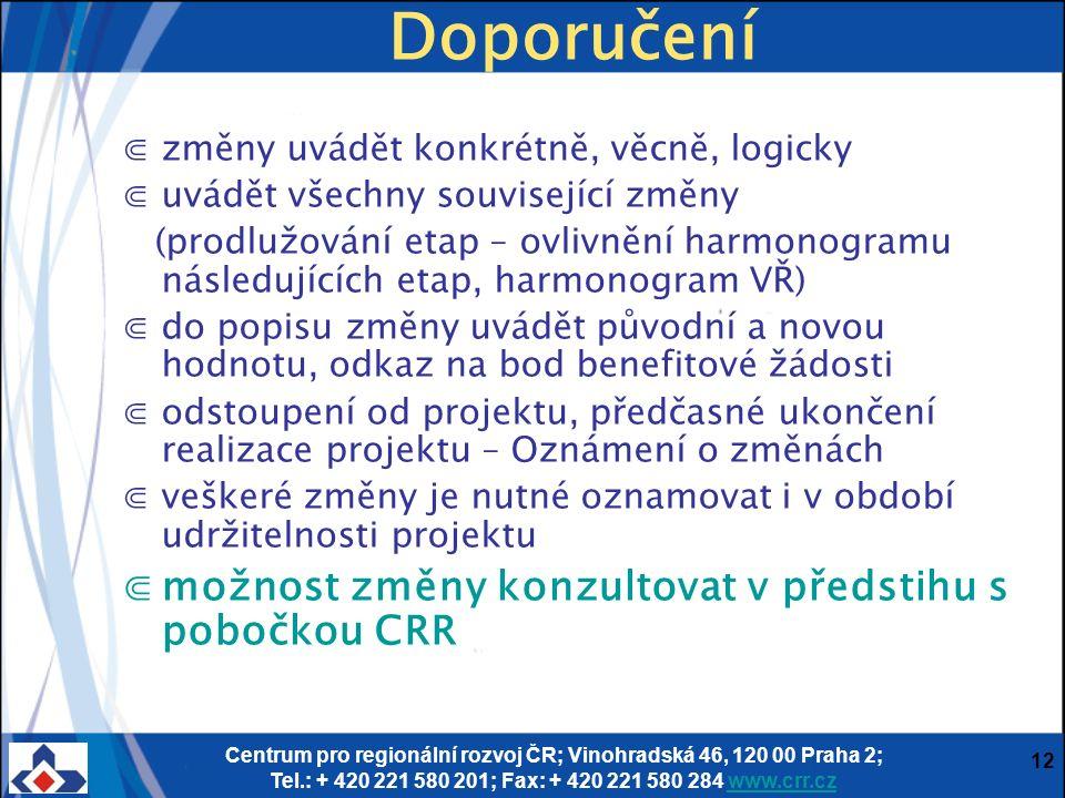 Centrum pro regionální rozvoj ČR; Vinohradská 46, 120 00 Praha 2; Tel.: + 420 221 580 201; Fax: + 420 221 580 284 www.crr.czwww.crr.cz 12 Doporučení ⋐