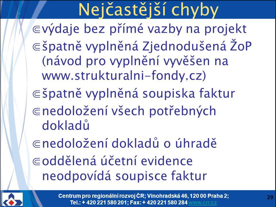 Centrum pro regionální rozvoj ČR; Vinohradská 46, 120 00 Praha 2; Tel.: + 420 221 580 201; Fax: + 420 221 580 284 www.crr.czwww.crr.cz 29 Nejčastější