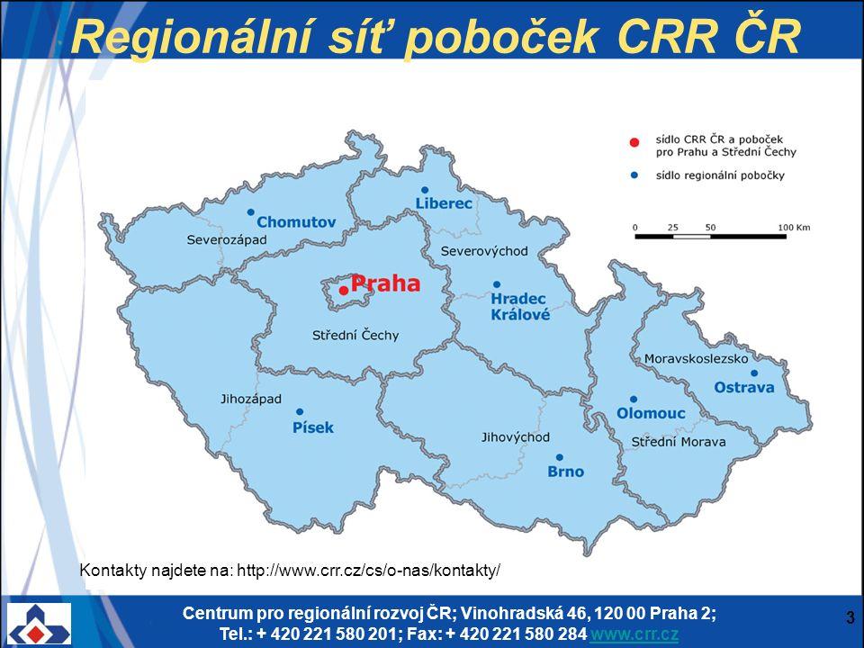 Centrum pro regionální rozvoj ČR; Vinohradská 46, 120 00 Praha 2; Tel.: + 420 221 580 201; Fax: + 420 221 580 284 www.crr.czwww.crr.cz 3 Regionální sí