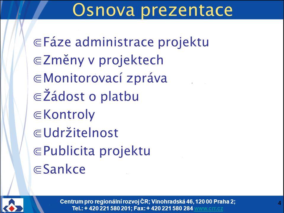 Centrum pro regionální rozvoj ČR; Vinohradská 46, 120 00 Praha 2; Tel.: + 420 221 580 201; Fax: + 420 221 580 284 www.crr.czwww.crr.cz 4 Osnova prezen
