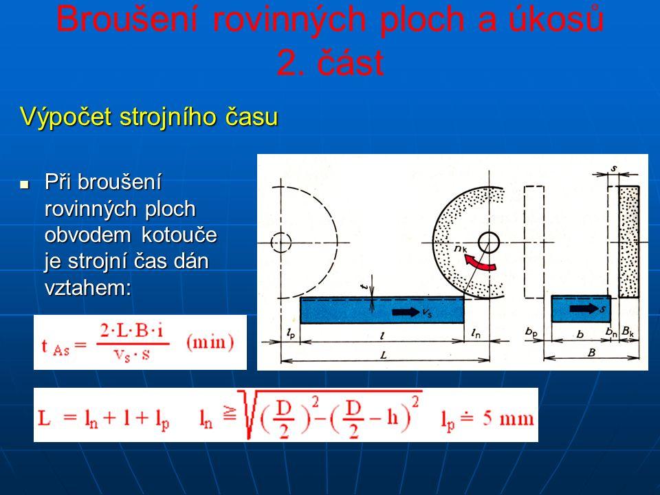 Při broušení rovinných ploch obvodem kotouče je strojní čas dán vztahem: Při broušení rovinných ploch obvodem kotouče je strojní čas dán vztahem: Výpočet strojního času