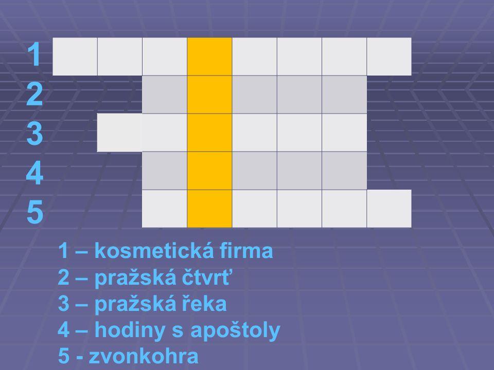 1234512345 1 – kosmetická firma 2 – pražská čtvrť 3 – pražská řeka 4 – hodiny s apoštoly 5 - zvonkohra