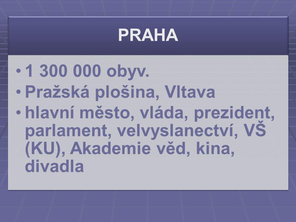 PRAHA 1 300 000 obyv. Pražská plošina, Vltava hlavní město, vláda, prezident, parlament, velvyslanectví, VŠ (KU), Akademie věd, kina, divadla