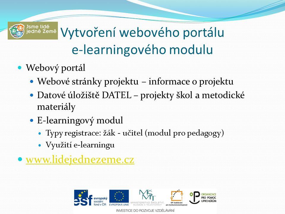Vytvoření webového portálu e-learningového modulu Webový portál Webové stránky projektu – informace o projektu Datové úložiště DATEL – projekty škol a metodické materiály E-learningový modul Typy registrace: žák - učitel (modul pro pedagogy) Využití e-learningu www.lidejednezeme.cz