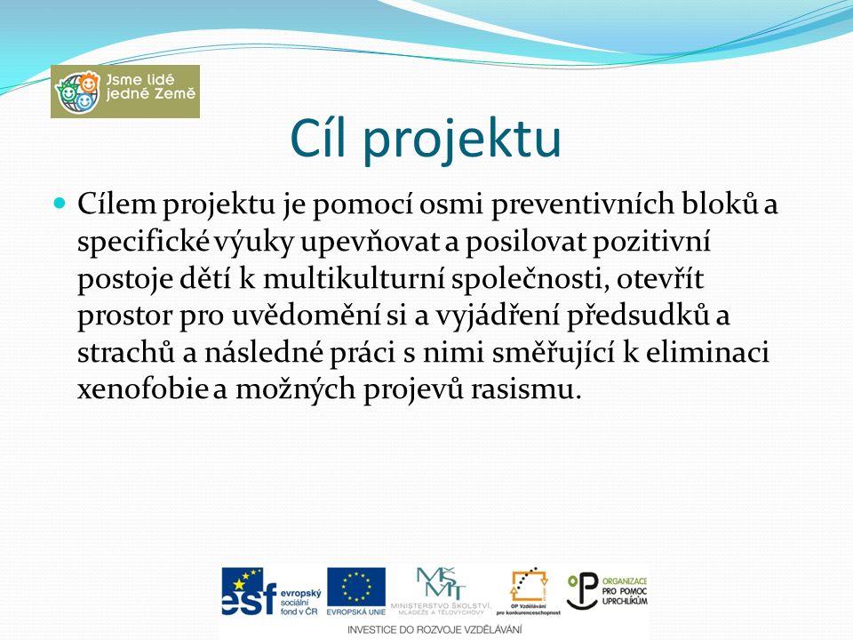 Cíl projektu Cílem projektu je pomocí osmi preventivních bloků a specifické výuky upevňovat a posilovat pozitivní postoje dětí k multikulturní společn