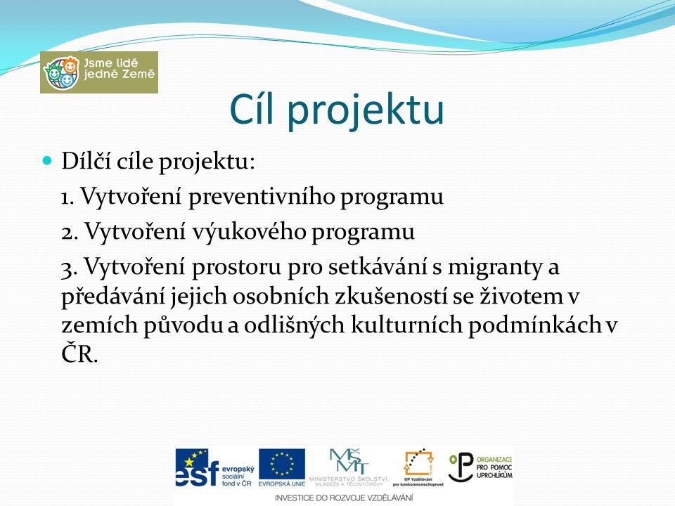 Cíl projektu Dílčí cíle projektu: 1. Vytvoření preventivního programu 2. Vytvoření výukového programu 3. Vytvoření prostoru pro setkávání s migranty a