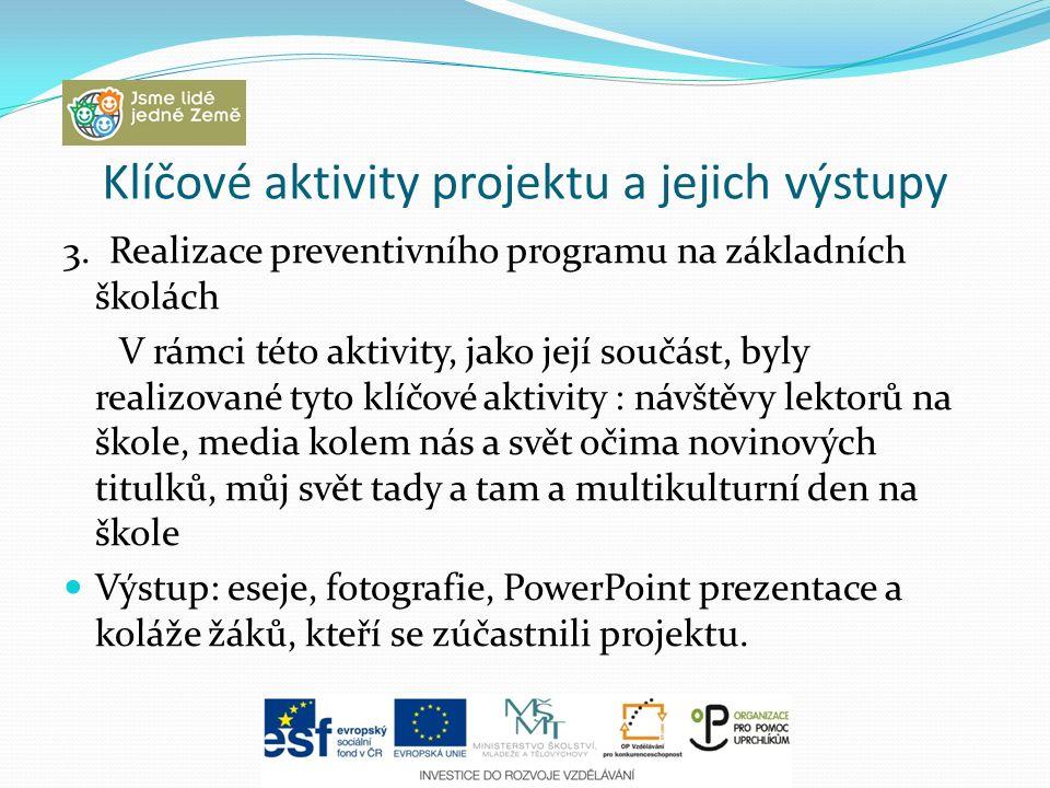 Klíčové aktivity projektu a jejich výstupy 3. Realizace preventivního programu na základních školách V rámci této aktivity, jako její součást, byly re
