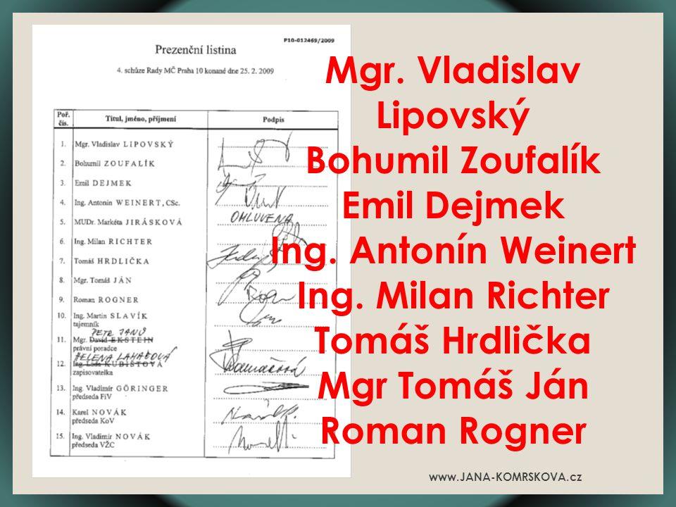 Mgr. Vladislav Lipovský Bohumil Zoufalík Emil Dejmek Ing.
