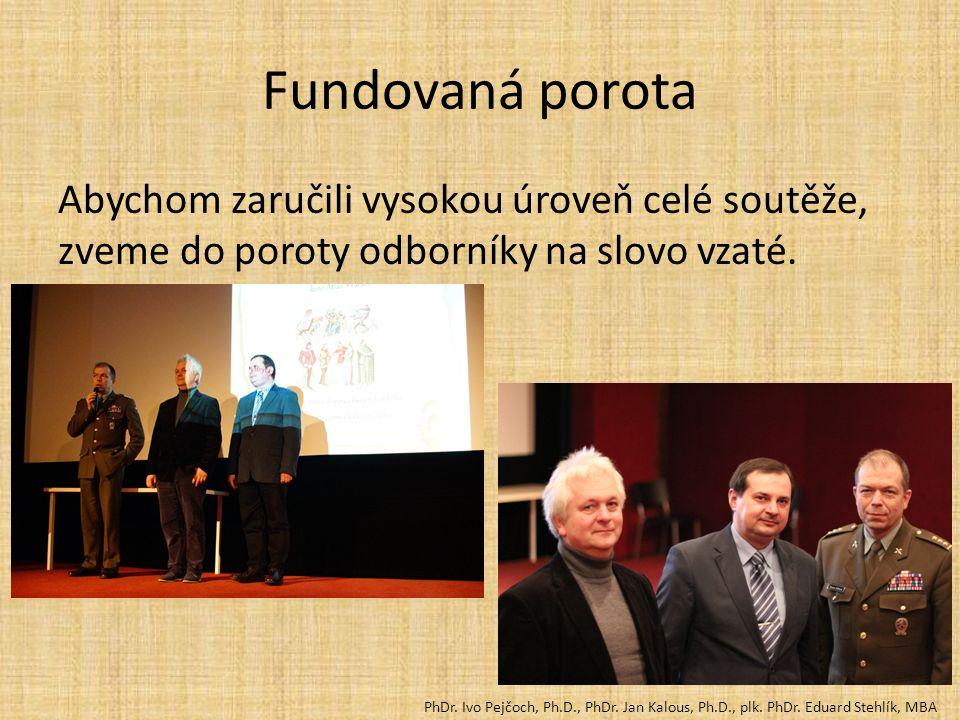 Fundovaná porota Abychom zaručili vysokou úroveň celé soutěže, zveme do poroty odborníky na slovo vzaté. PhDr. Ivo Pejčoch, Ph.D., PhDr. Jan Kalous, P