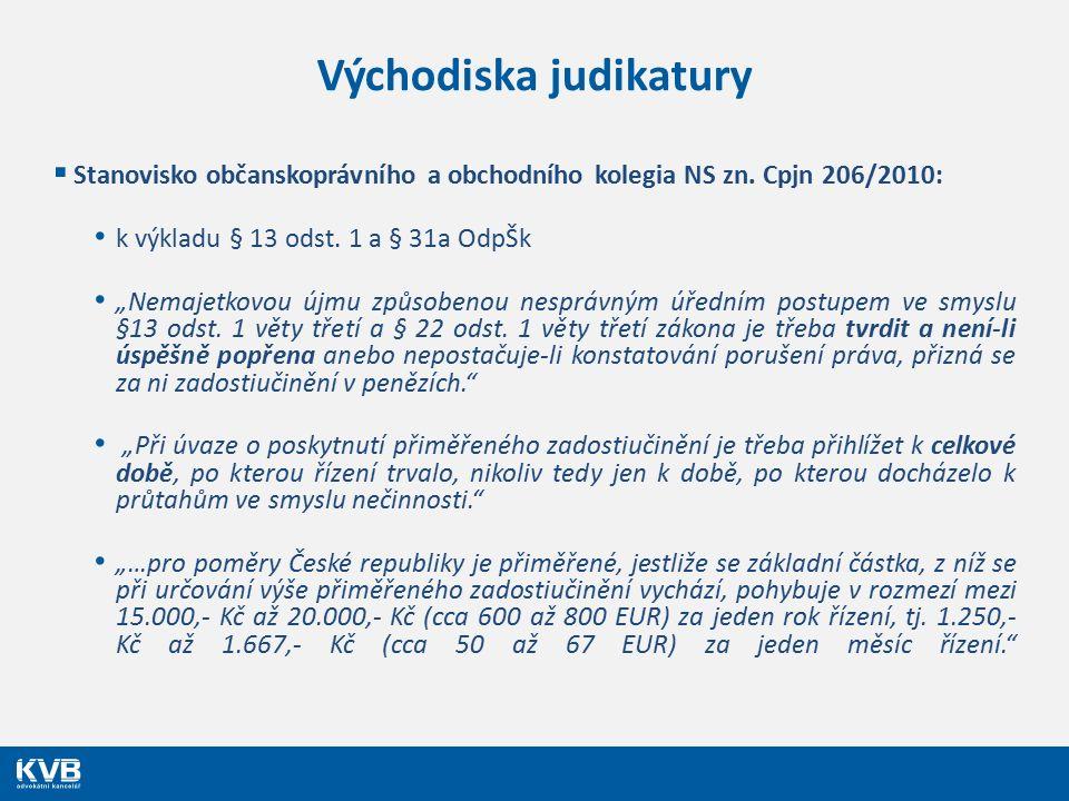 """Východiska judikatury  Stanovisko občanskoprávního a obchodního kolegia NS zn. Cpjn 206/2010: k výkladu § 13 odst. 1 a § 31a OdpŠk """"Nemajetkovou újmu"""