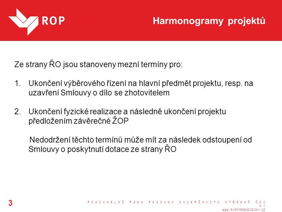 R E G I O N Á L N Í R A D A R E G I O N U S O U D R Ž N O S T I S T Ř E D N Í Č E C H Y WWW.ROPSTREDNICECHY.CZ 3 Harmonogramy projektů Ze strany ŘO jsou stanoveny mezní termíny pro: 1.Ukončení výběrového řízení na hlavní předmět projektu, resp.