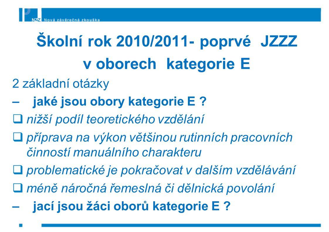 Školní rok 2010/2011- poprvé JZZZ v oborech kategorie E 2 základní otázky – jaké jsou obory kategorie E .