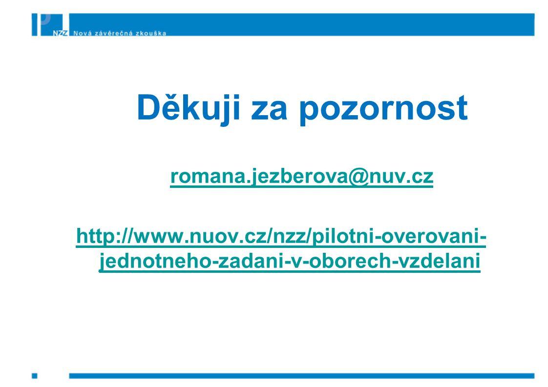Děkuji za pozornost romana.jezberova@nuv.cz http://www.nuov.cz/nzz/pilotni-overovani- jednotneho-zadani-v-oborech-vzdelani