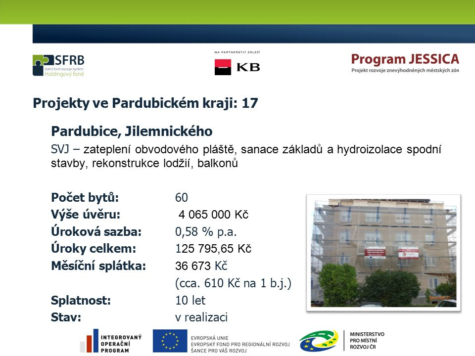 Projekty ve Pardubickém kraji: 17 Pardubice, Jilemnického SVJ – zateplení obvodového pláště, sanace základů a hydroizolace spodní stavby, rekonstrukce