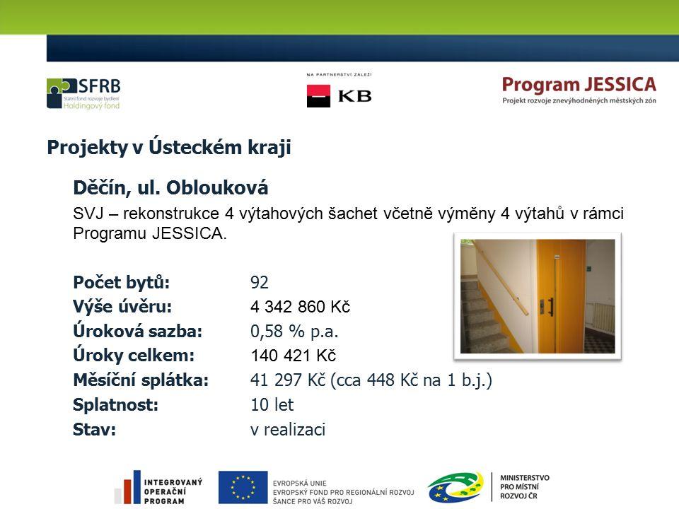 Projekty v Ústeckém kraji Děčín, ul. Oblouková SVJ – rekonstrukce 4 výtahových šachet včetně výměny 4 výtahů v rámci Programu JESSICA. Počet bytů: 92