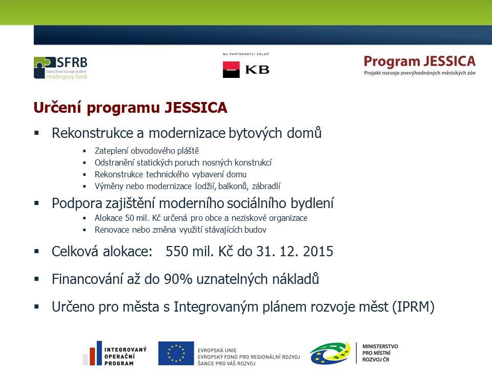 Určení programu JESSICA  Rekonstrukce a modernizace bytových domů  Zateplení obvodového pláště  Odstranění statických poruch nosných konstrukcí  R