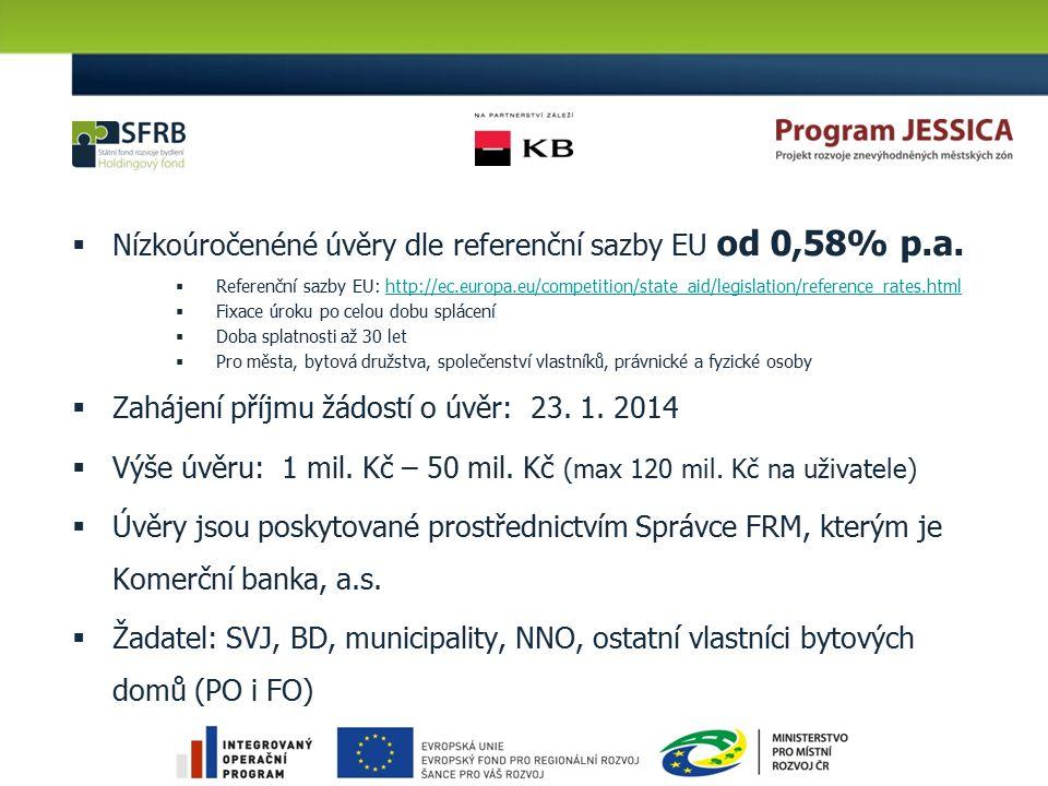 Nízkoúročenéné úvěry dle referenční sazby EU od 0,58% p.a.  Referenční sazby EU: http://ec.europa.eu/competition/state_aid/legislation/reference_ra