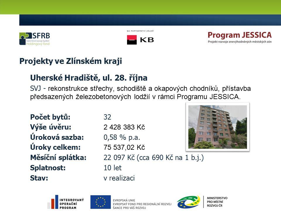 Projekty ve Pardubickém kraji: 17 Pardubice, Jilemnického SVJ – zateplení obvodového pláště, sanace základů a hydroizolace spodní stavby, rekonstrukce lodžií, balkonů Počet bytů: 60 Výše úvěru: 4 065 000 Kč Úroková sazba: 0,58 % p.a.
