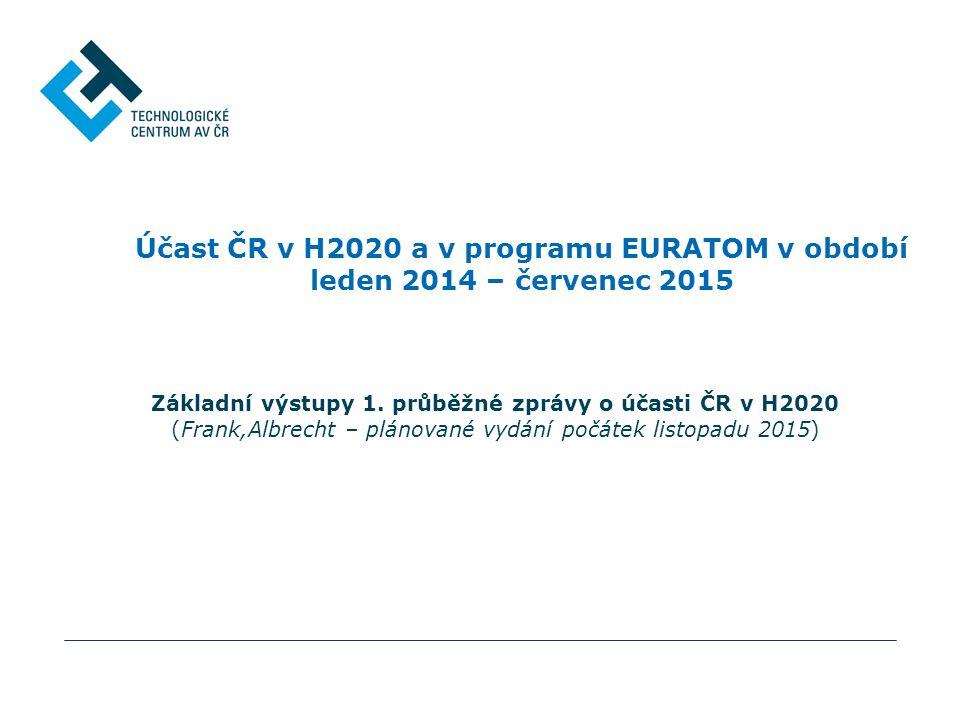 Účast ČR v H2020 a v programu EURATOM v období leden 2014 – červenec 2015 Základní výstupy 1.