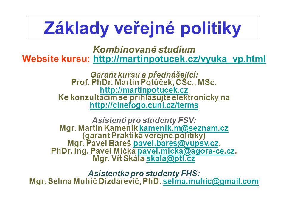 Základy veřejné politiky Kombinované studium Website kursu: http://martinpotucek.cz/vyuka_vp.htmlhttp://martinpotucek.cz/vyuka_vp.html Garant kursu a přednášející: Prof.