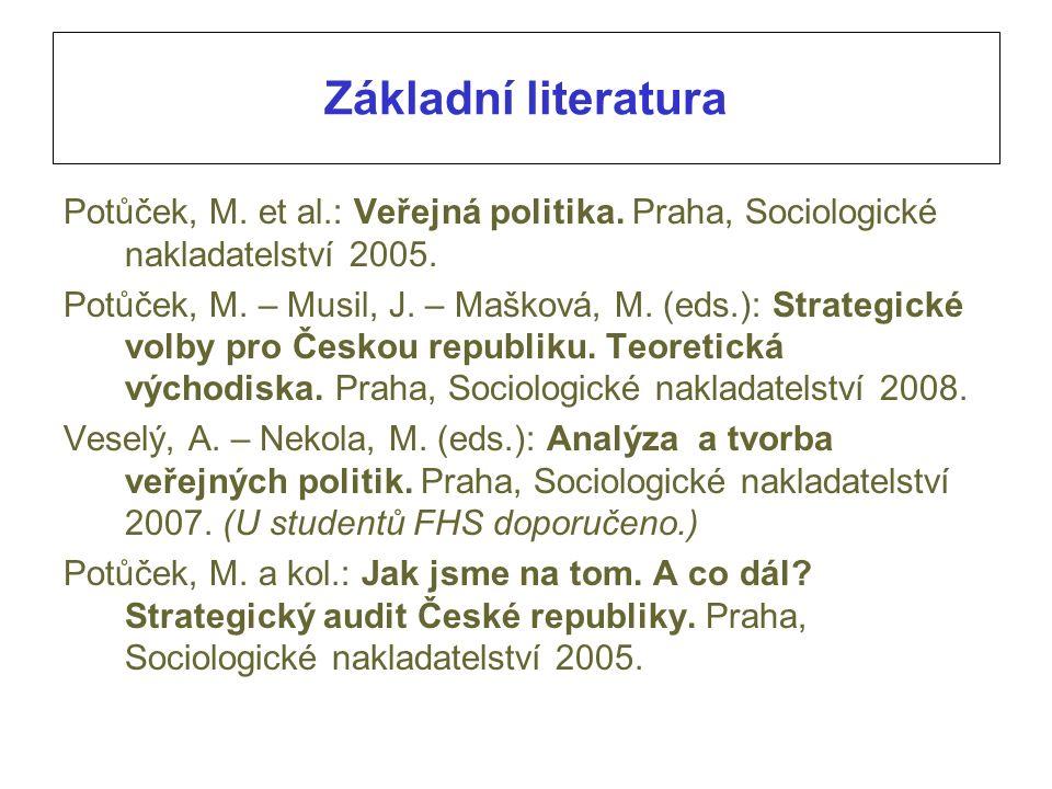 Základní literatura Potůček, M. et al.: Veřejná politika. Praha, Sociologické nakladatelství 2005. Potůček, M. – Musil, J. – Mašková, M. (eds.): Strat