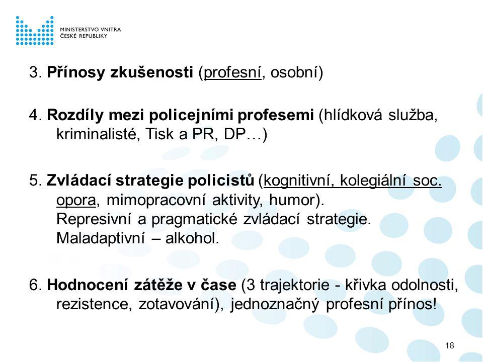 3. Přínosy zkušenosti (profesní, osobní) 4. Rozdíly mezi policejními profesemi (hlídková služba, kriminalisté, Tisk a PR, DP…) 5. Zvládací strategie p