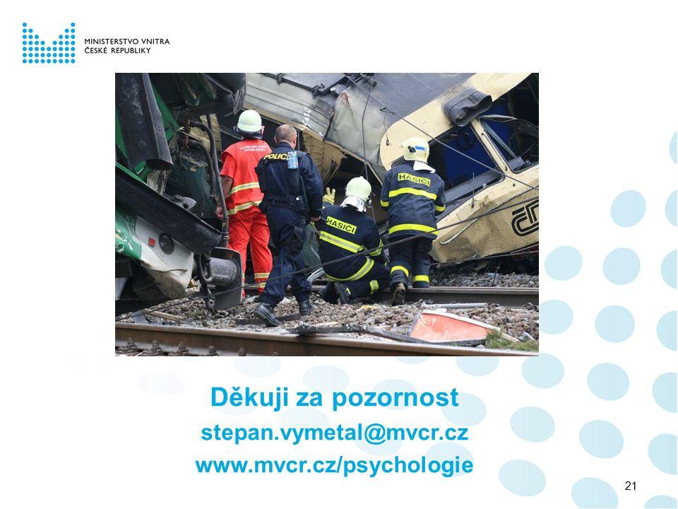 Děkuji za pozornost stepan.vymetal@mvcr.cz www.mvcr.cz/psychologie 21