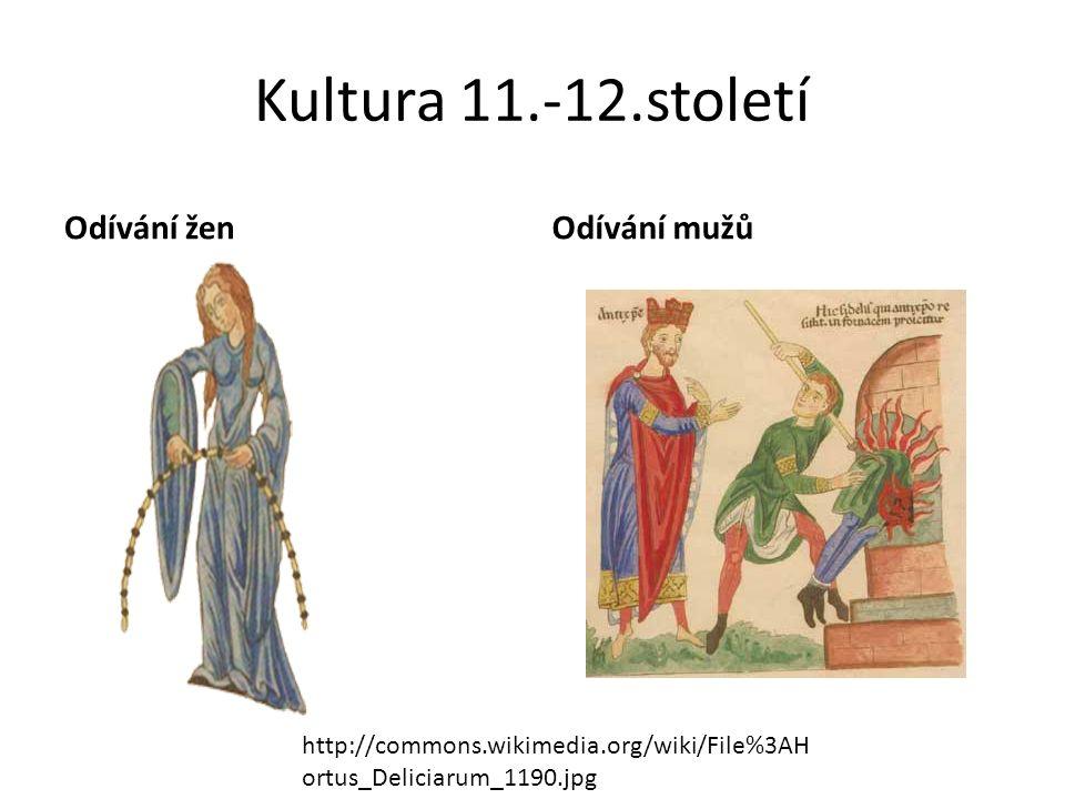 Kultura 11.-12.století Odívání ženOdívání mužů http://commons.wikimedia.org/wiki/File%3AH ortus_Deliciarum_1190.jpg