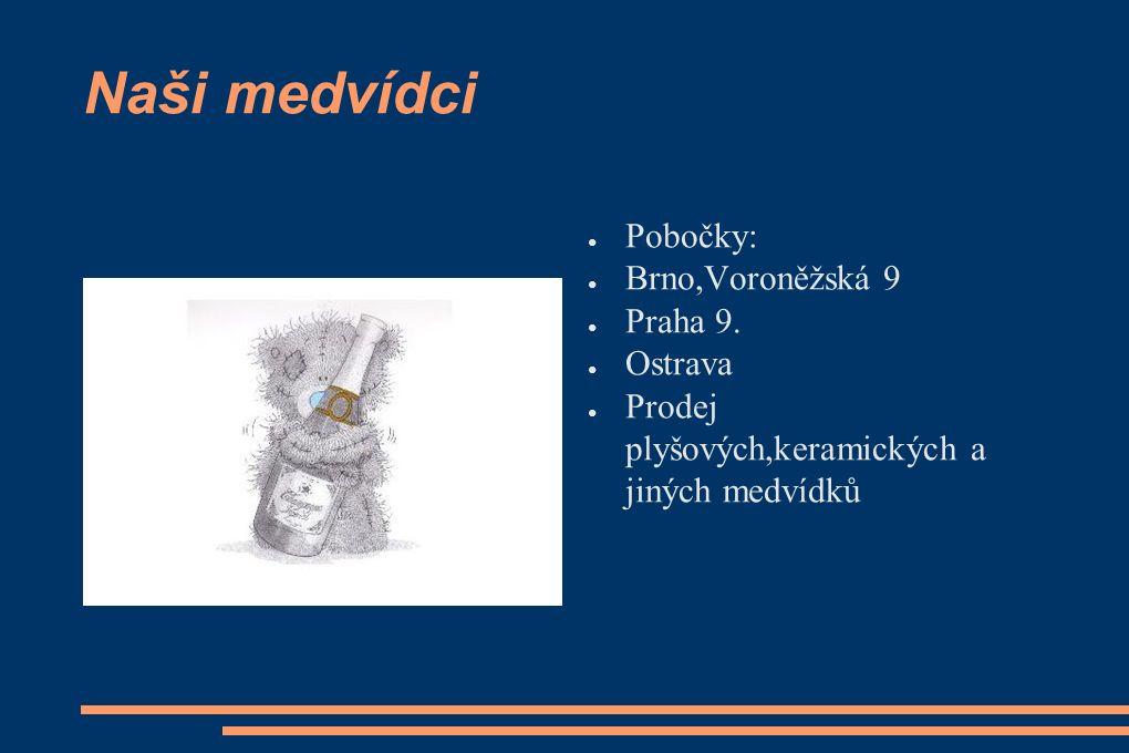 Naši medvídci ● Pobočky: ● Brno,Voroněžská 9 ● Praha 9.