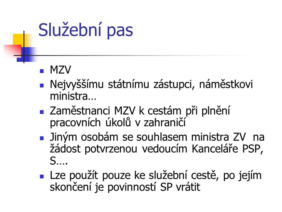 Služební pas MZV Nejvyššímu státnímu zástupci, náměstkovi ministra… Zaměstnanci MZV k cestám při plnění pracovních úkolů v zahraničí Jiným osobám se souhlasem ministra ZV na žádost potvrzenou vedoucím Kanceláře PSP, S….
