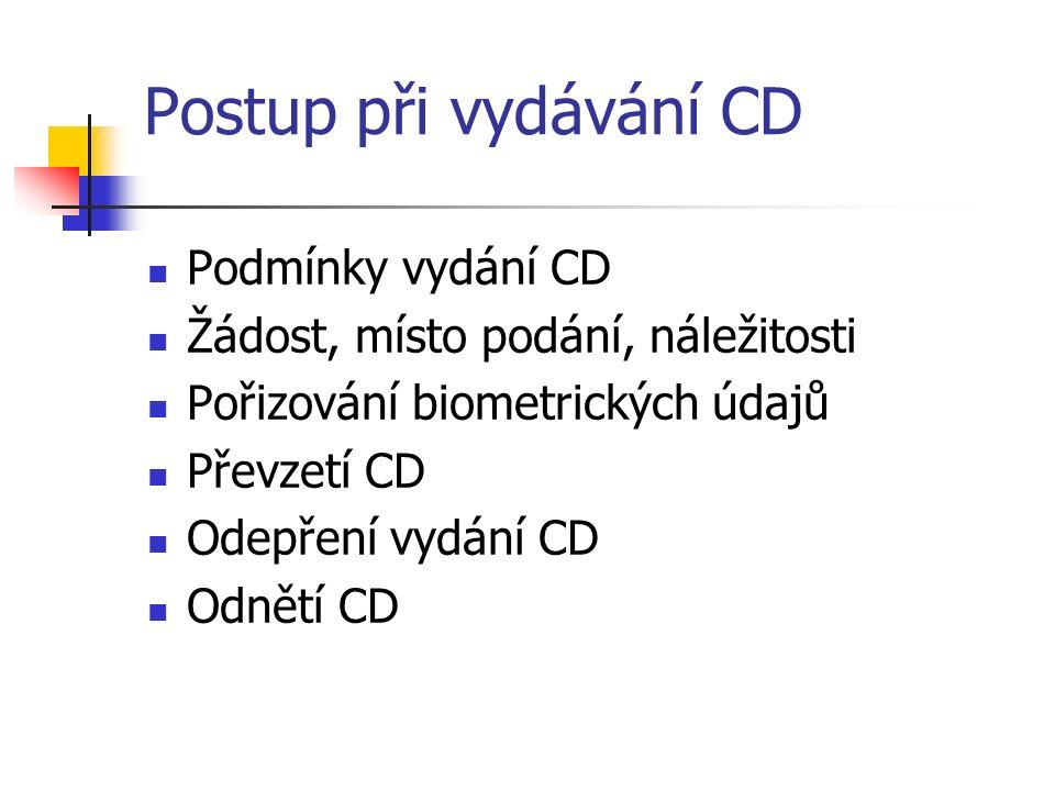 Postup při vydávání CD Podmínky vydání CD Žádost, místo podání, náležitosti Pořizování biometrických údajů Převzetí CD Odepření vydání CD Odnětí CD