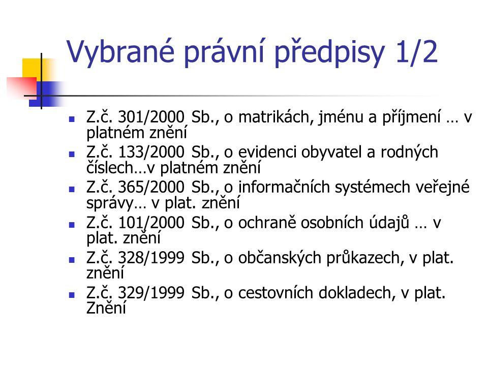 Vybrané právní předpisy 1/2 Z.č. 301/2000 Sb., o matrikách, jménu a příjmení … v platném znění Z.č.