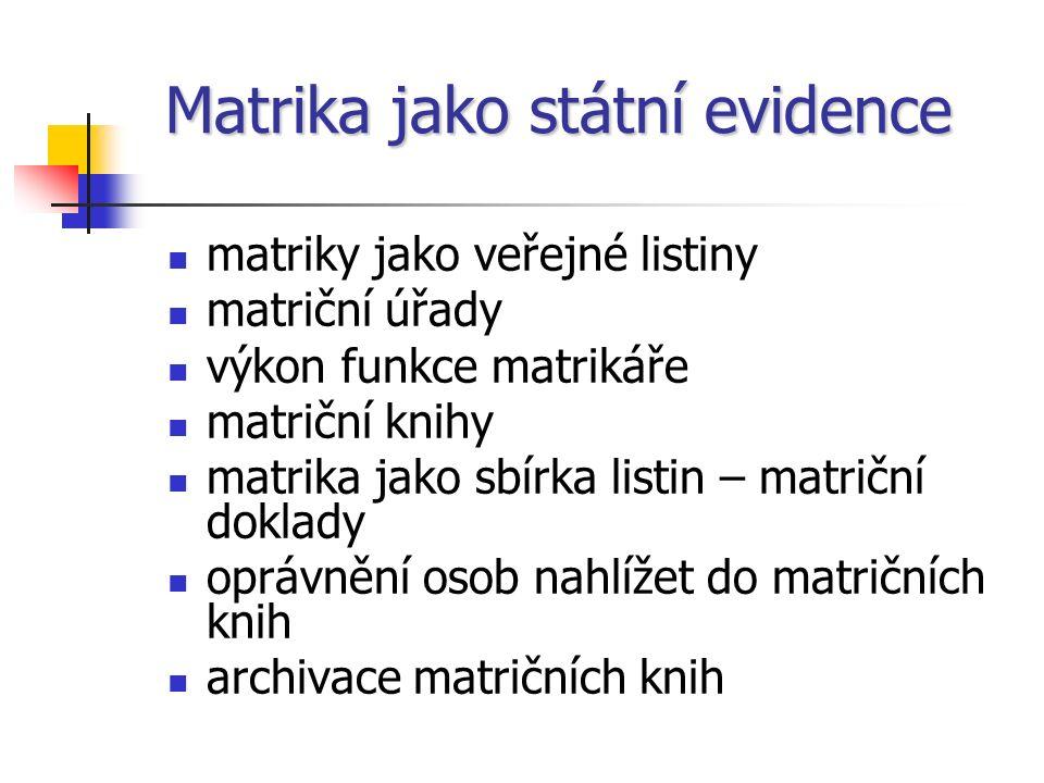 Matrika jako státní evidence matriky jako veřejné listiny matriční úřady výkon funkce matrikáře matriční knihy matrika jako sbírka listin – matriční doklady oprávnění osob nahlížet do matričních knih archivace matričních knih