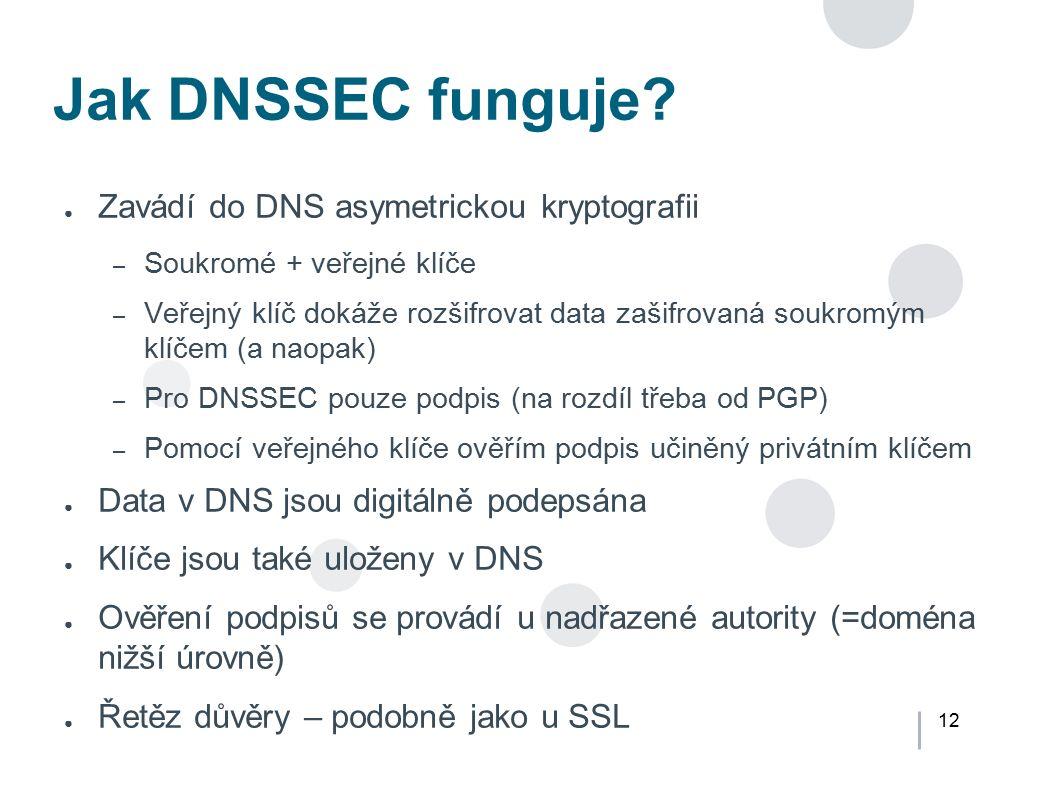 12 Jak DNSSEC funguje? ● Zavádí do DNS asymetrickou kryptografii – Soukromé + veřejné klíče – Veřejný klíč dokáže rozšifrovat data zašifrovaná soukrom