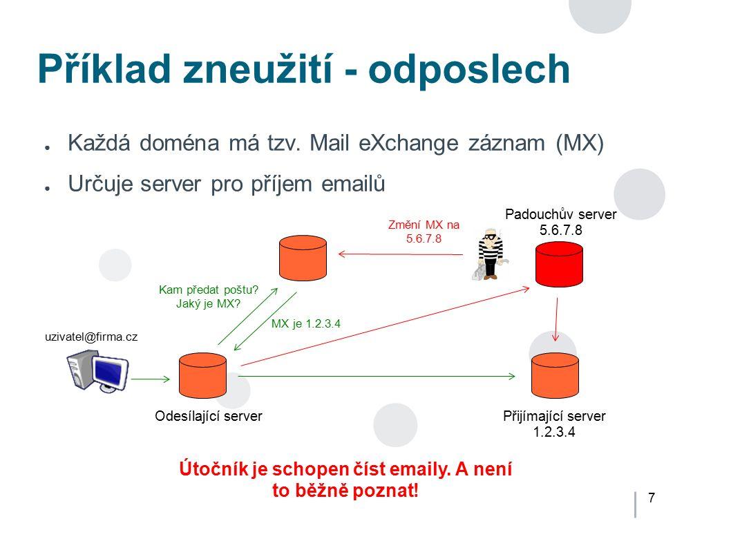 7 Příklad zneužití - odposlech ● Každá doména má tzv. Mail eXchange záznam (MX) ● Určuje server pro příjem emailů Odesílající serverPřijímající server