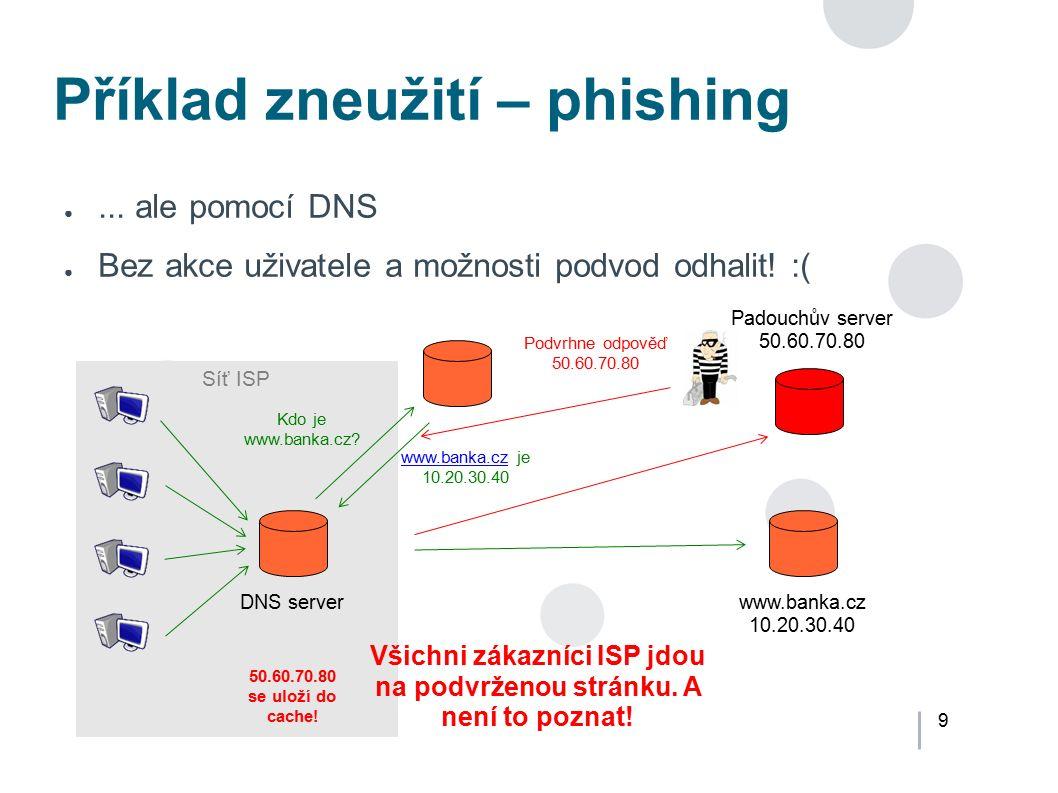 9 Síť ISP Příklad zneužití – phishing ●... ale pomocí DNS ● Bez akce uživatele a možnosti podvod odhalit! :( DNS serverwww.banka.cz 10.20.30.40 Kdo je