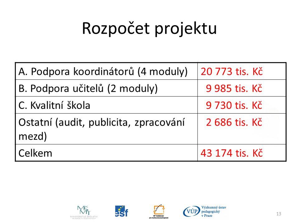 13 Rozpočet projektu A. Podpora koordinátorů (4 moduly)20 773 tis.
