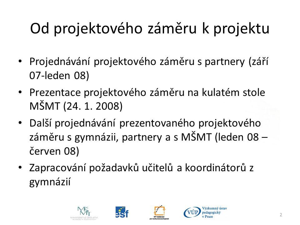 2 Od projektového záměru k projektu Projednávání projektového záměru s partnery (září 07-leden 08) Prezentace projektového záměru na kulatém stole MŠMT (24.