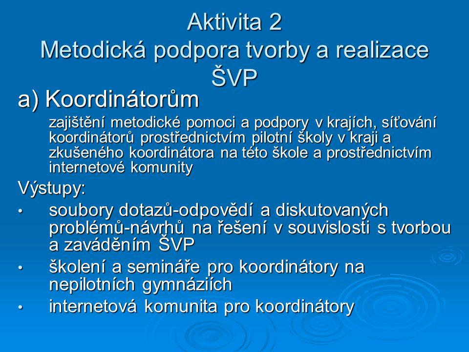Aktivita 2 Metodická podpora tvorby a realizace ŠVP a) Koordinátorům zajištění metodické pomoci a podpory v krajích, síťování koordinátorů prostřednic