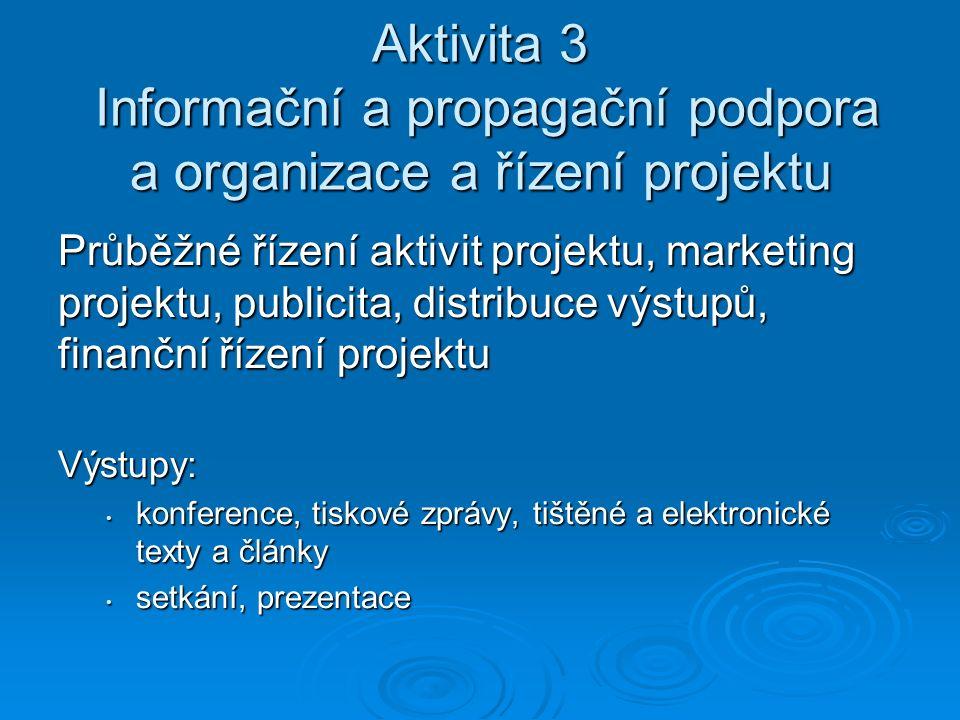 Aktivita 3 Informační a propagační podpora a organizace a řízení projektu Průběžné řízení aktivit projektu, marketing projektu, publicita, distribuce